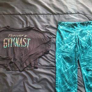 size 8 athletic capri leggings and top